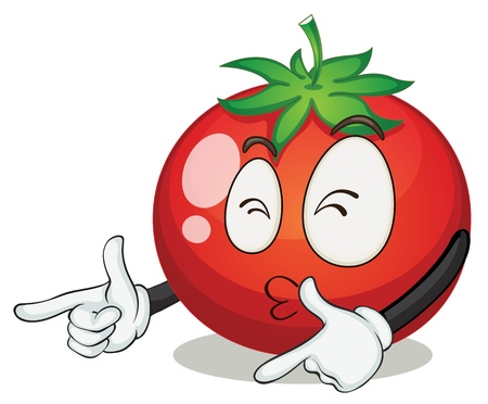 happy: illustration of a tomato on a white background