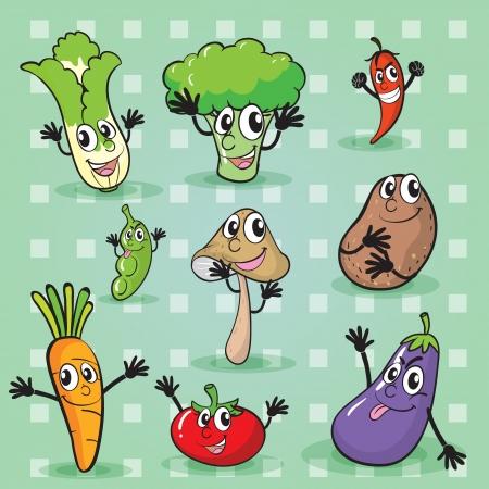 raw potato: illustration of various vegetables on a green background Illustration