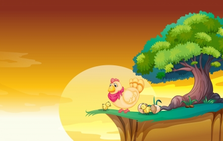 forest cartoon: Hen in a beaiful nature in the evening Illustration