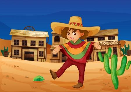 traje mexicano: ilustración de una chica mexicana en el desierto