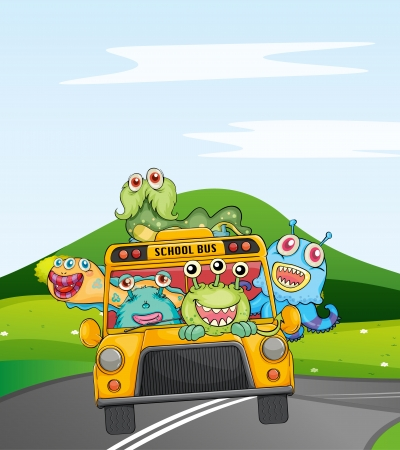 illustration of monsters in schoolbus on road Vector