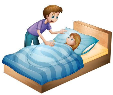 wake: illustration of a boy and a girl on a white background Illustration