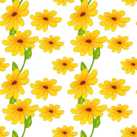 illustratie van mooie gele bloemen op een witte achtergrond