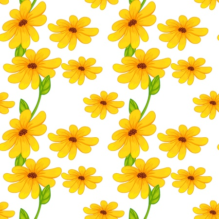 flora fauna: illustration of beautiful yellow flowers on a white background