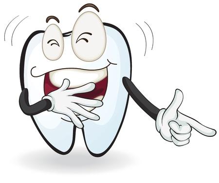 Ilustración de un diente riendo sobre un fondo blanco