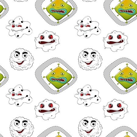 ghastly: illustration of various monsters on a white background Illustration