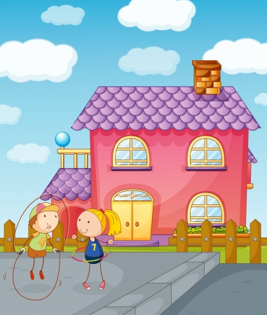 balcony: illustration of kids playing skipping rope in front of pink house