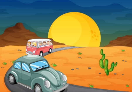 desert road: illustration of a car and a bus with kids on road