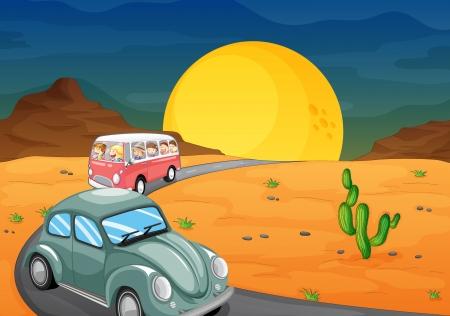 chofer de autobus: ilustración de un automóvil y un autobús con niños en carretera Vectores