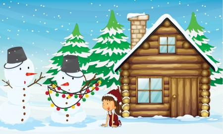 snowman wood: illustration of a snowman and a girl near a house in snowfall