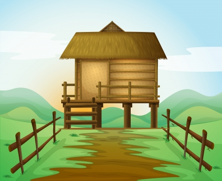 bamboo forest: illustration of a hut in a beautiful nature Illustration