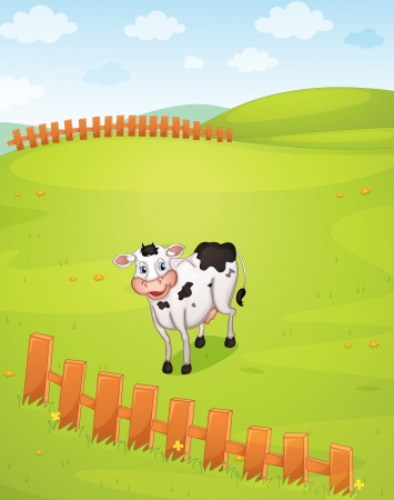 illustration of a cow in a beautiful nature Vector