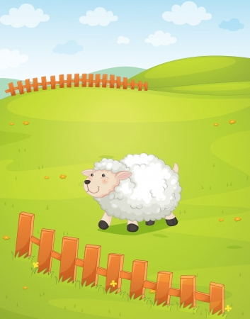 illustration of a sheep in a beautiful nature Vector
