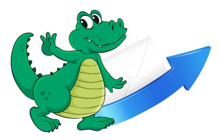 envelop: illustration of a crocodile, an arrow and an envelop on a white background
