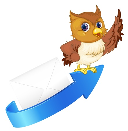 envelop: illustration of an owl, an arrow and an envelop on a white background Illustration