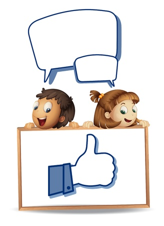 illustration of kids and white board on white background Vector