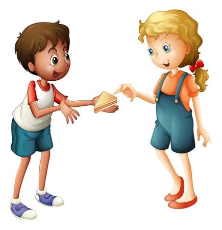 kid eat: illustrazione di un ragazzo e una ragazza su uno sfondo bianco