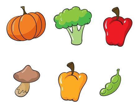 illustration of vegetables on a white background Ilustração