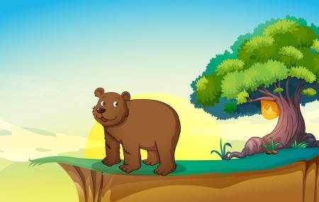 bluff: illustrazione di un orso in una natura bellissima