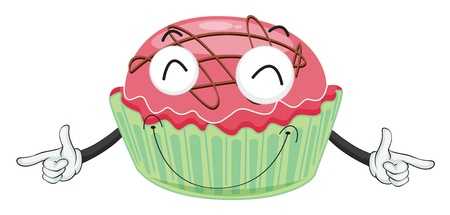 steam mouth: illustration of cupcake on a white background Illustration