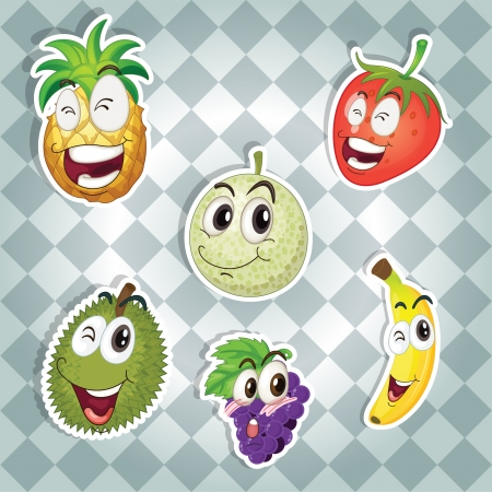 illustration of various fruits on a grey background Vector