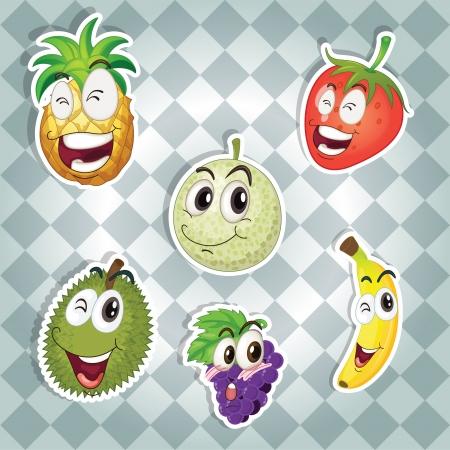 Ilustración de varias frutas en un fondo gris