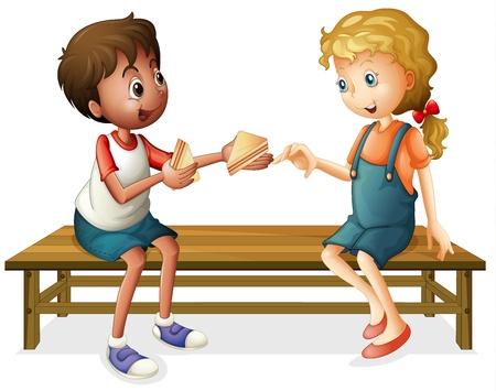 pareja comiendo: ilustraci�n de ni�os que se sientan en un banco en un fondo blanco