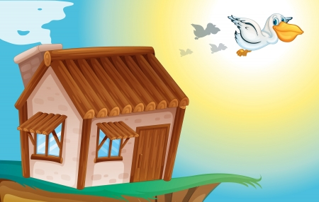animal shelter: illustration of a wooden house and birds in nature