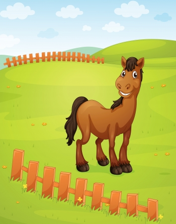 illustration of a horse in a beautiful nature Vector