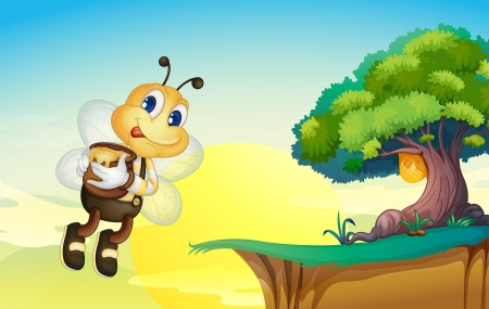 greenary: illustration of honey bee in a beautiful nature Illustration