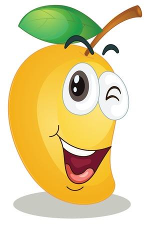 clin d oeil: illustration d'une mangue sur un fond blanc