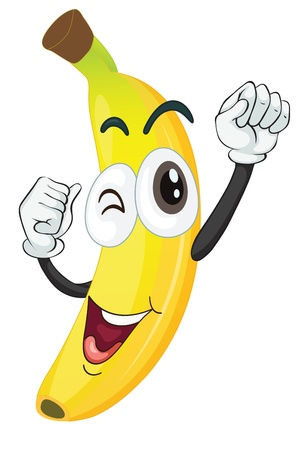 vegetable cartoon: illustration of a banana on a white background