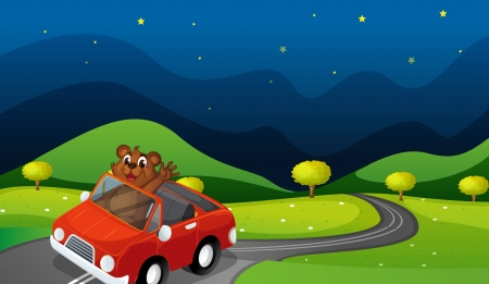 illustration of a bear and a car in a beautiful nature Vector