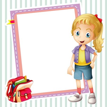 illustration of a girl, a school bag and a white board