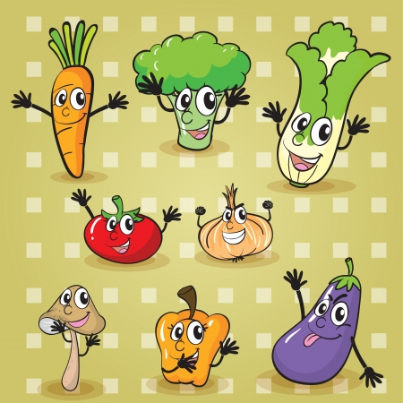 illustration of various vegetables on a yellow background Vector