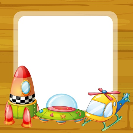 airplane window: illustration of toys and window  on a white backgound