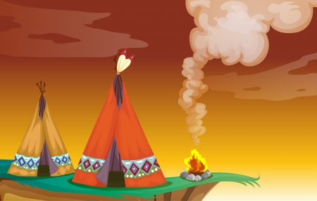movable: illustration of a tent house and a fire in nature