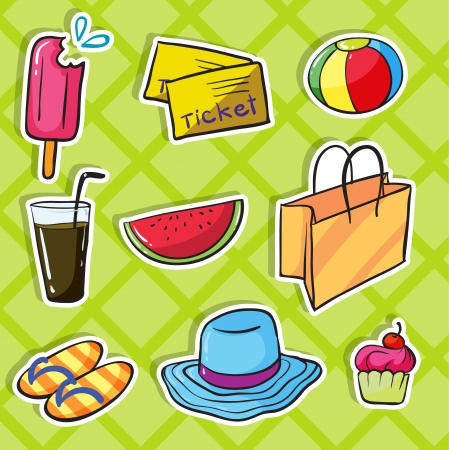 illustration of various objects green checkered background Vector