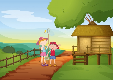 illustration of kids and house in a beautiful nature Vector