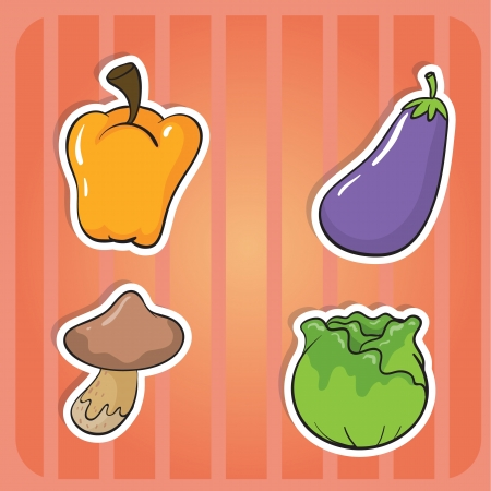 illustration of vegetables on a pink background Vector