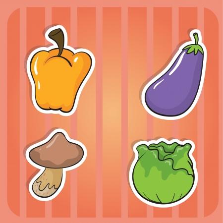 brinjal: illustration of vegetables on a pink background