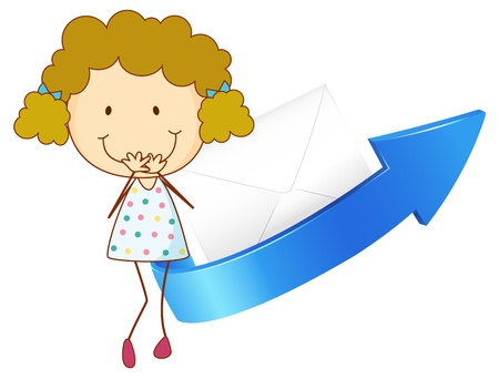 envelop: illustration of a girl, an arrow and an envelop on a white background