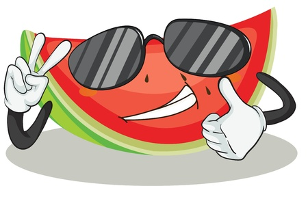 watermelon slice: illustration of a watermelon on a white background Illustration