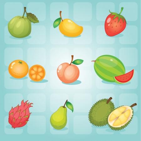 mango slice: illustration of various fruits on a blue background