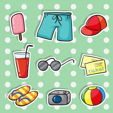 beach game: illustration of various objects blue checkered background Illustration