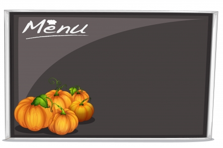 illustration of a menu on a black board on a white background