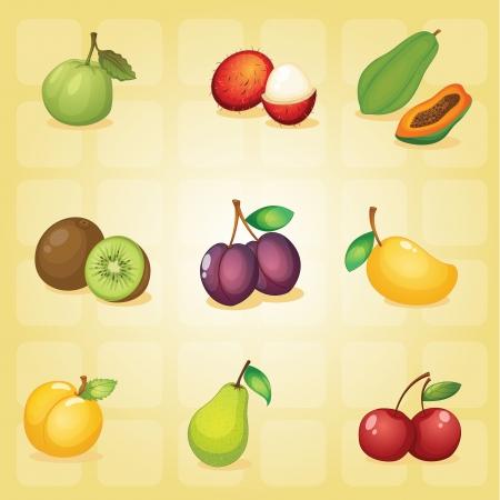 mango slice: illustration of various fruits on a red background Illustration