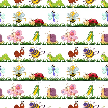 illustration of various insects on a white background Stock Vector - 15809985