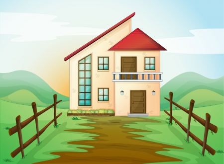 illustration of a house in beautiful nature Vector
