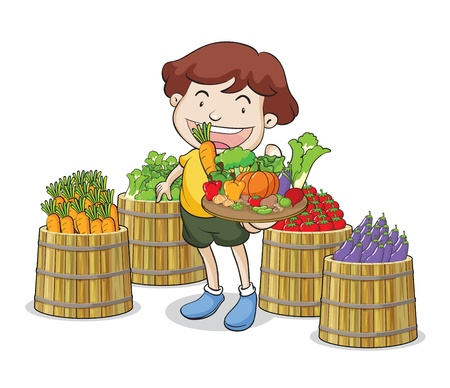 pumpkin tomato: illustration of a boy and vegetables on a white background